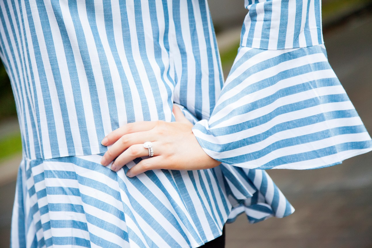 blue and white stripe ruffle sleeve top kate spade glitter heels fashion blogger outfit ideas 8