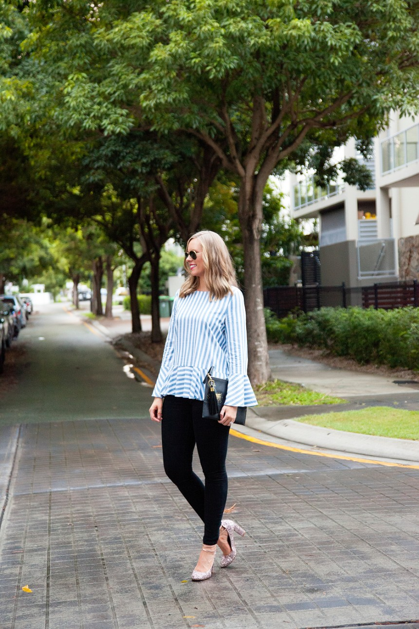 blue and white stripe ruffle sleeve top kate spade glitter heels fashion blogger outfit ideas 9