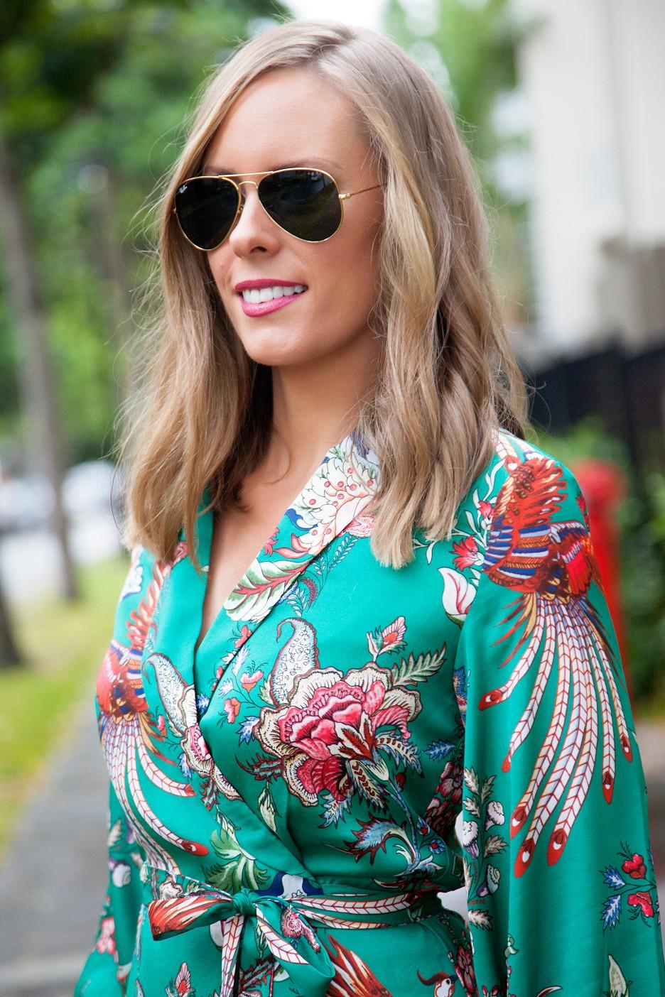 silk pajama print green emerald dress fashion blogger outfit ideas chanel flap handbag lauren slade style elixir 2