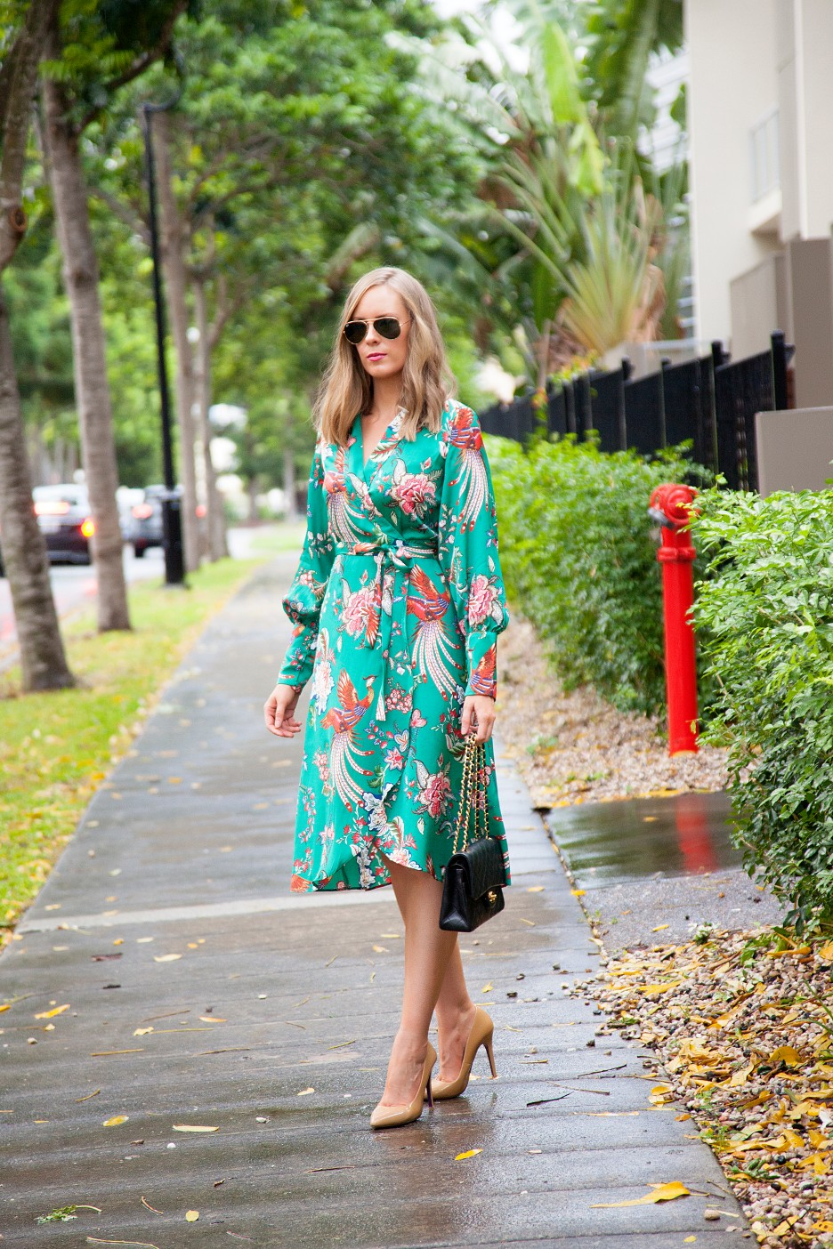 silk pajama print green emerald dress fashion blogger outfit ideas chanel flap handbag lauren slade style elixir 8
