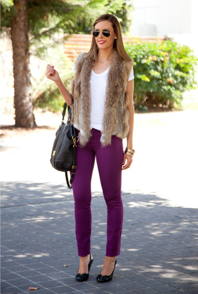 Spring Outfit Fur Vest and White Tee tory burch jeans 9