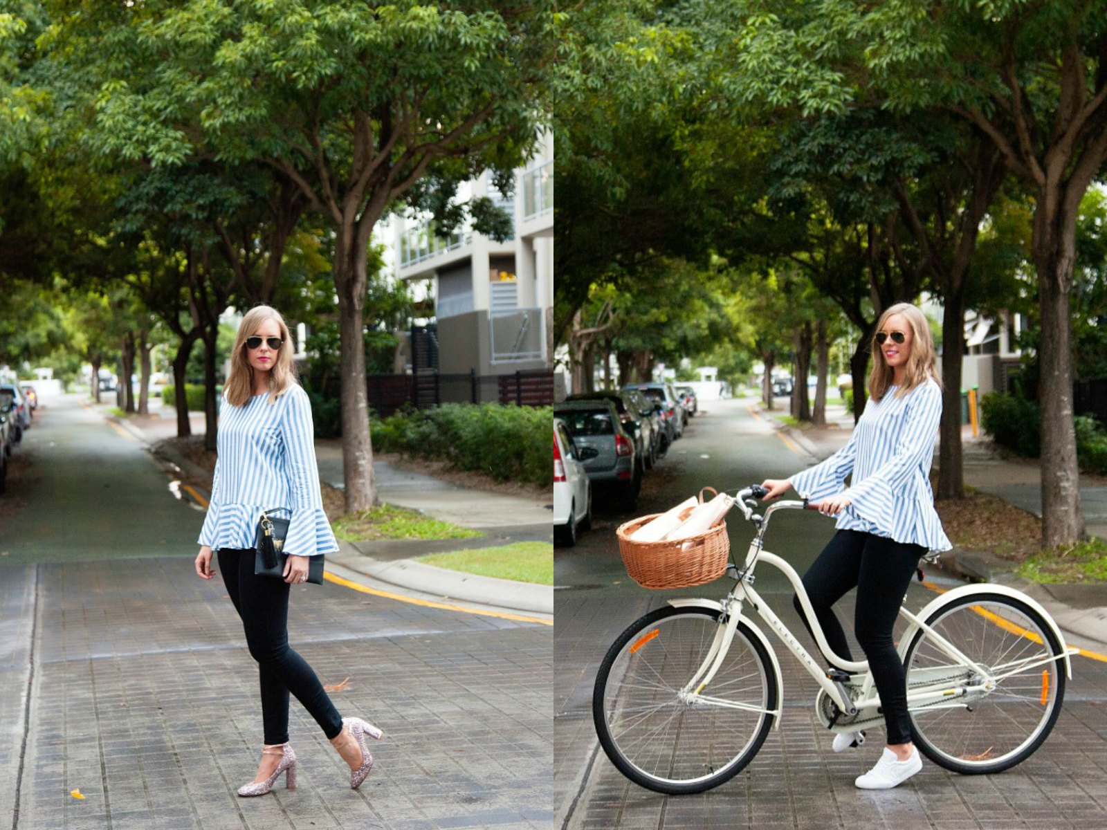 one outfit two ways stripe shirt black jeans glitter heels white sneakers fashion blogger outfit ideas - Style Sessions | One Striped Outfit, Two Ways featured by popular US fashion blogger, Style Elixir