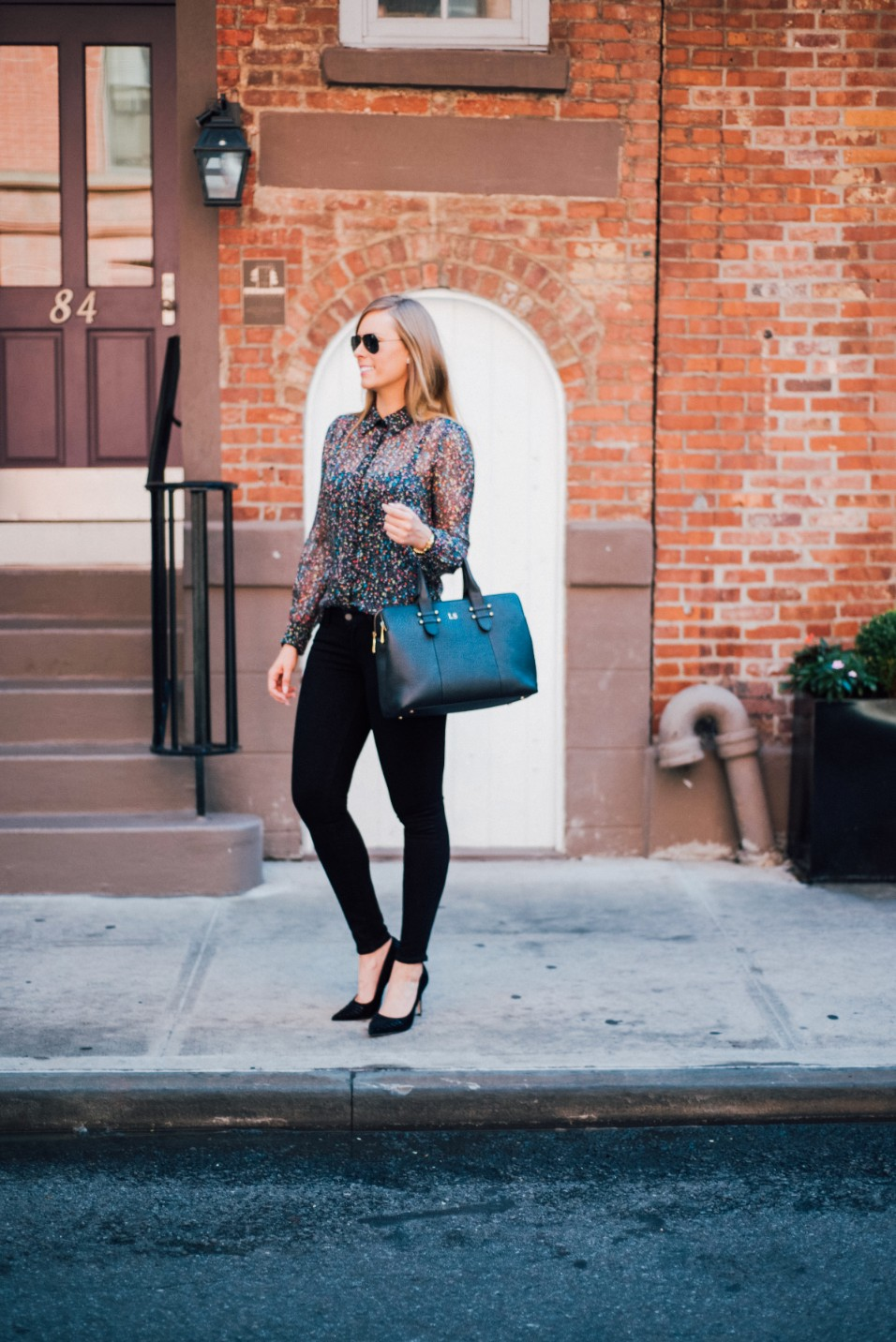 Paige Verdugo Skinny Jeans dvf blouse gigi new york monogram bag french connection heels west village new york blogger stylish outfit ideas lauren slade style elixir blog | Paige Verdugo Jeans and DVF Blouse featured by popular US style blogger, Style Elixir