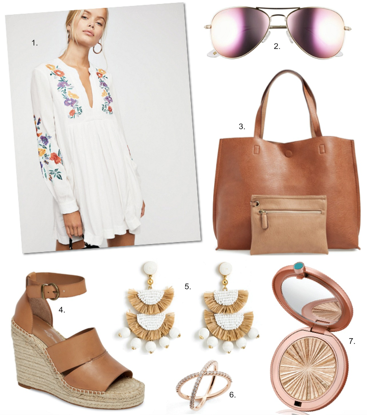 Summer Style Outfit Idea free people dress treasure and bond sannibel shoes | Summery White Boho Dress featured by popular US style blogger, Style Elixir