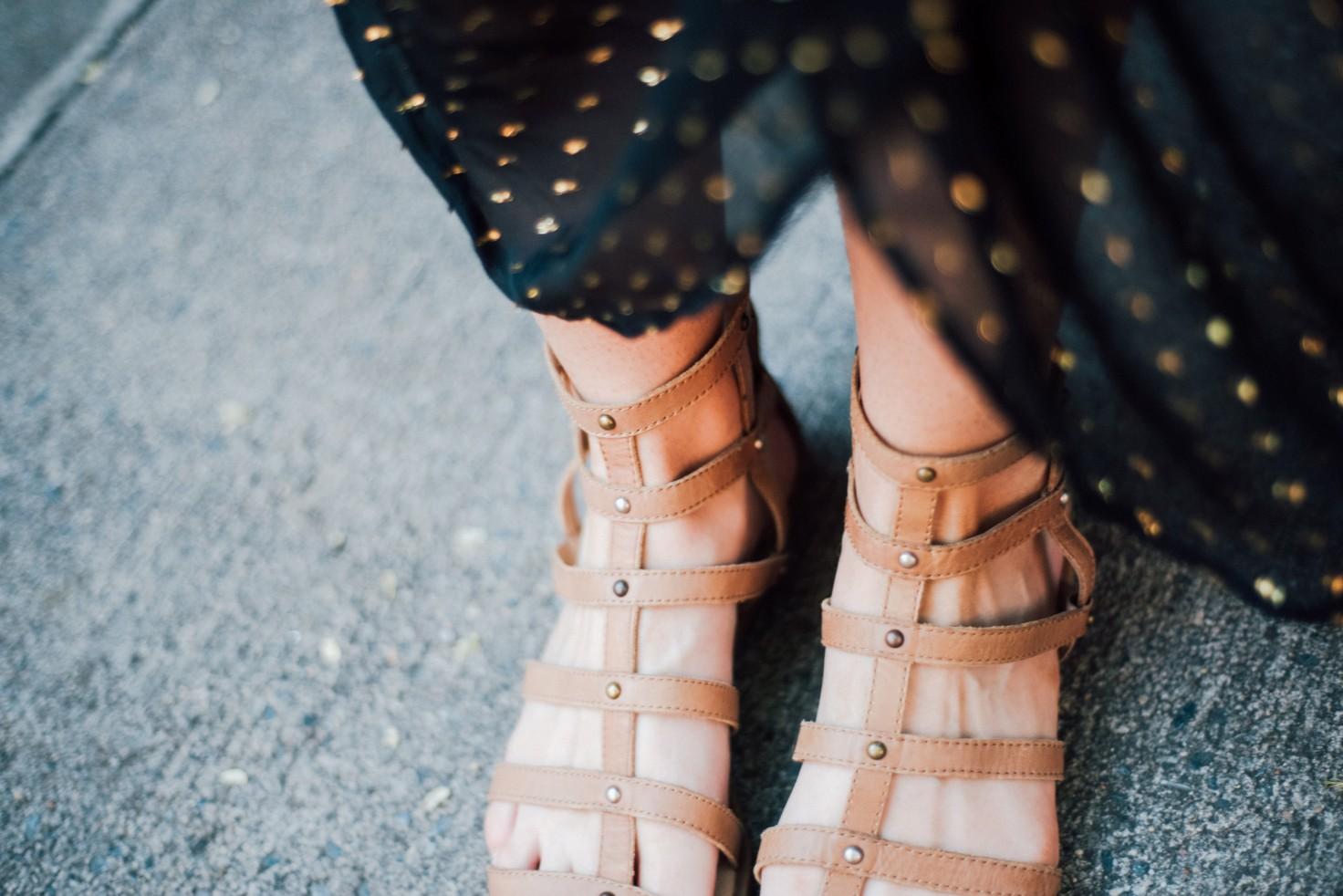 black gold metallic dot maxi dress H&M new york fashion blogger west village lauren slade style elixir blog 5 | Metallic Gold Polka Dot Dress featured by popular US style blogger, Style Elixir