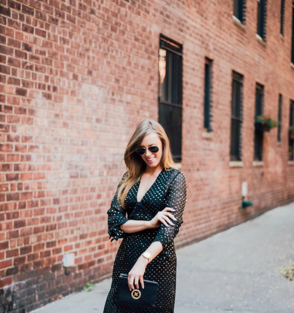 black gold metallic dot maxi dress H&M new york fashion blogger west village lauren slade style elixir blog 9 | Metallic Gold Polka Dot Dress featured by popular US style blogger, Style Elixir