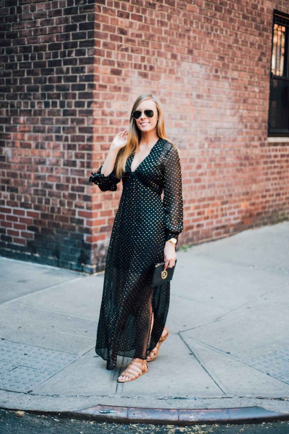 black gold metallic dot maxi dress H&M new york fashion blogger west village lauren slade style elixir blog | Metallic Gold Polka Dot Dress featured by popular US style blogger, Style Elixir