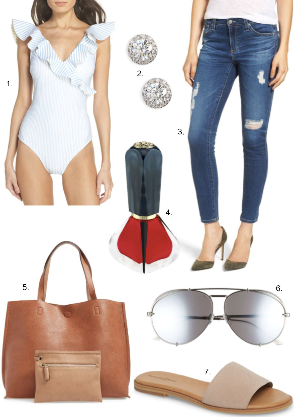 currently covet diff khlow koko sunglasses Treasure & Bond Mere Flat Slide Sandals Street Level Reversible Tote Bag fashion blogger outfit ideas | Cute Summer Sandals and Swimwear featured by popular US style blogger, Style Elixir
