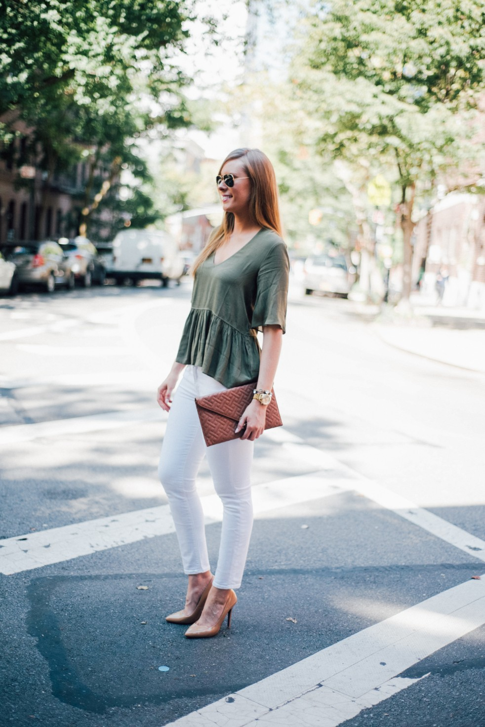 white jeans and peplum top west village fashion new york fashion blogger lauren slade style elixir blog spring outfit ideas 1 - Style Sessions - White Jeans and Peplum Top in the West Village featured by popular US style blogger, Style Elixir