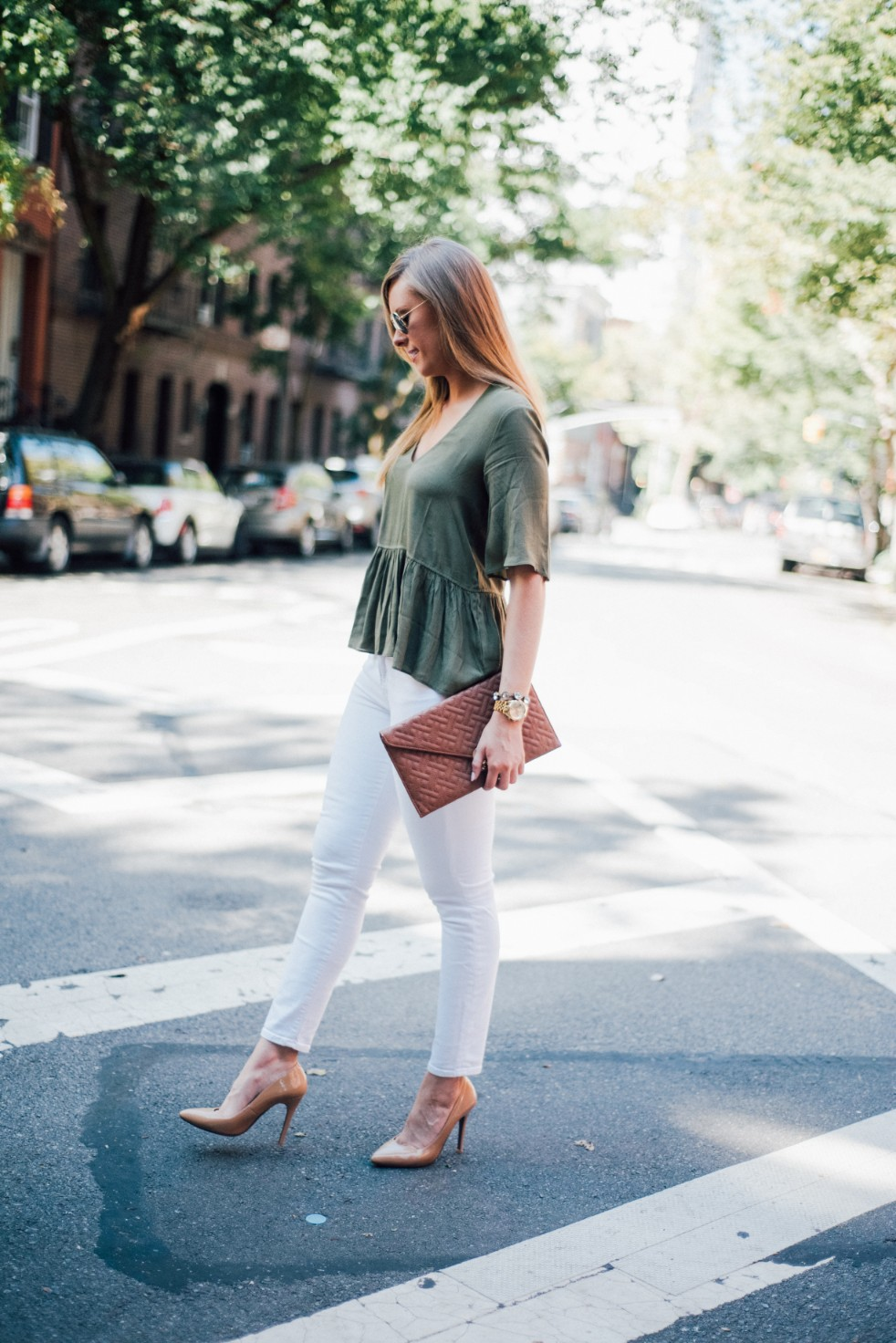 white jeans and peplum top west village fashion new york fashion blogger lauren slade style elixir blog spring outfit ideas 10 - Style Sessions - White Jeans and Peplum Top in the West Village featured by popular US style blogger, Style Elixir