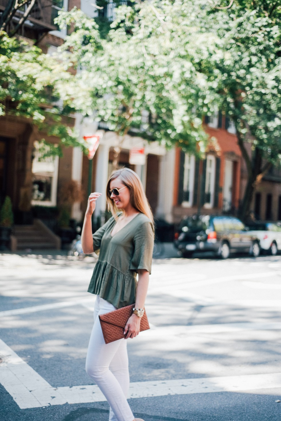 white jeans and peplum top west village fashion new york fashion blogger lauren slade style elixir blog spring outfit ideas 12 - Style Sessions - White Jeans and Peplum Top in the West Village featured by popular US style blogger, Style Elixir