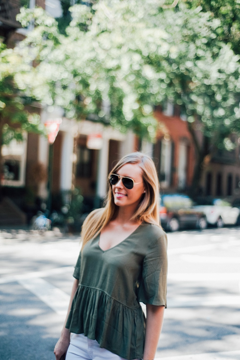 white jeans and peplum top west village fashion new york fashion blogger lauren slade style elixir blog spring outfit ideas 13 - Style Sessions - White Jeans and Peplum Top in the West Village featured by popular US style blogger, Style Elixir