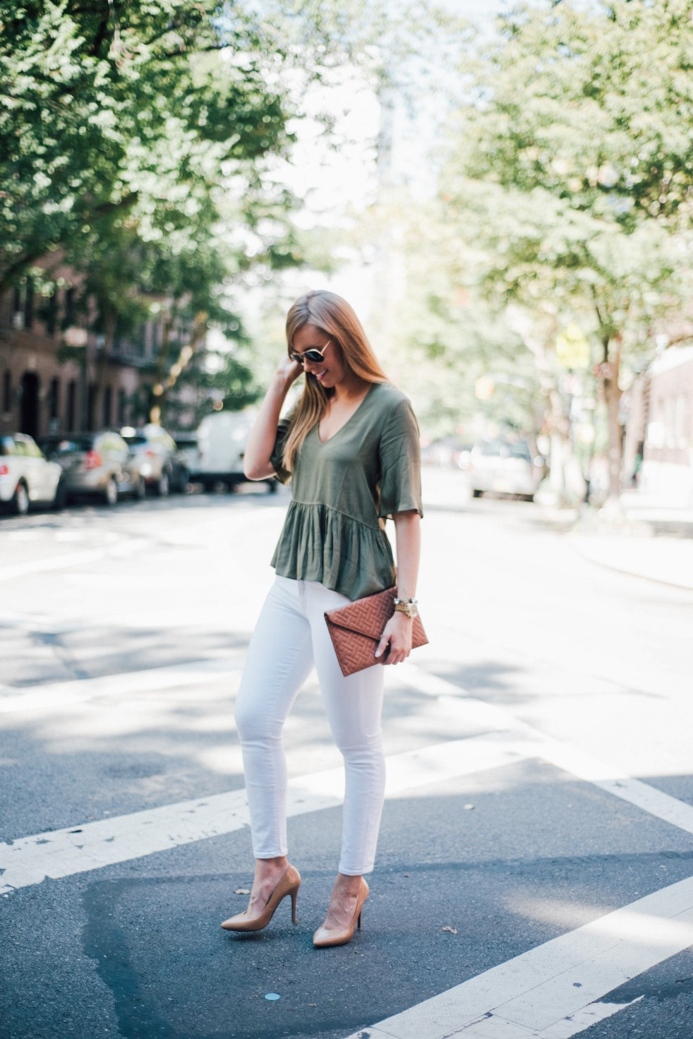 white jeans and peplum top west village fashion new york fashion blogger lauren slade style elixir blog spring outfit ideas 15 - Style Sessions - White Jeans and Peplum Top in the West Village featured by popular US style blogger, Style Elixir