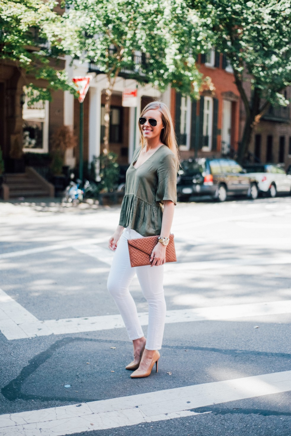 white jeans and peplum top west village fashion new york fashion blogger lauren slade style elixir blog spring summer outfit ideas 2 - Style Sessions - White Jeans and Peplum Top in the West Village featured by popular US style blogger, Style Elixir