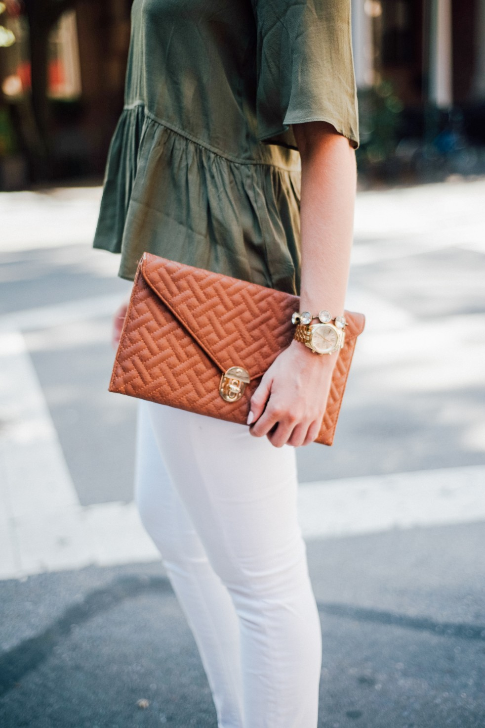 white jeans and peplum top west village fashion new york fashion blogger lauren slade style elixir blog spring outfit ideas 4 - Style Sessions - White Jeans and Peplum Top in the West Village featured by popular US style blogger, Style Elixir