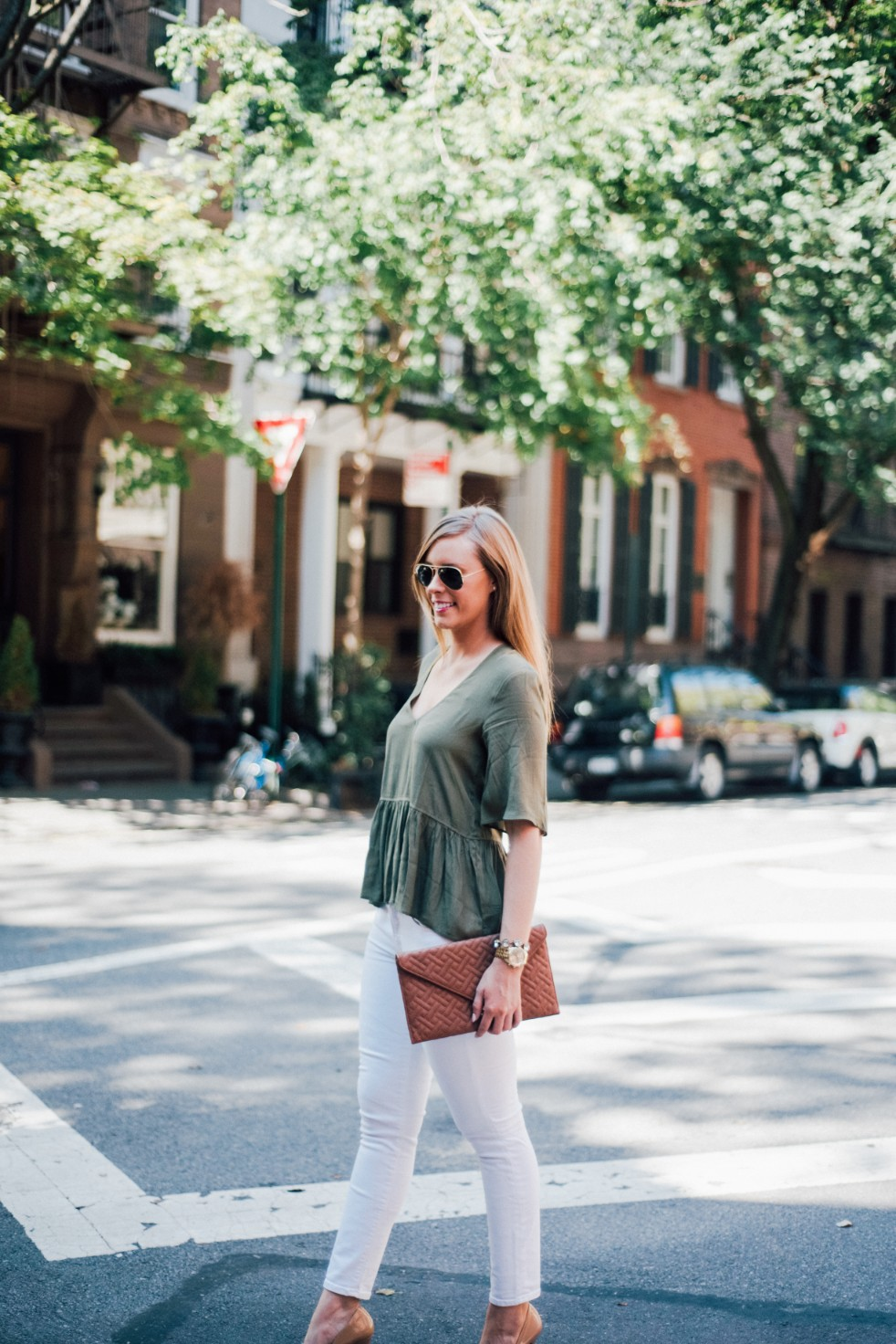 white jeans and peplum top west village fashion new york fashion blogger lauren slade style elixir blog spring outfit ideas 5 - Style Sessions - White Jeans and Peplum Top in the West Village featured by popular US style blogger, Style Elixir