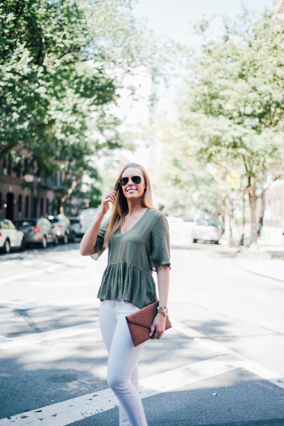white jeans and peplum top west village fashion new york fashion blogger lauren slade style elixir blog spring outfit ideas 7 - Style Sessions - White Jeans and Peplum Top in the West Village featured by popular US style blogger, Style Elixir