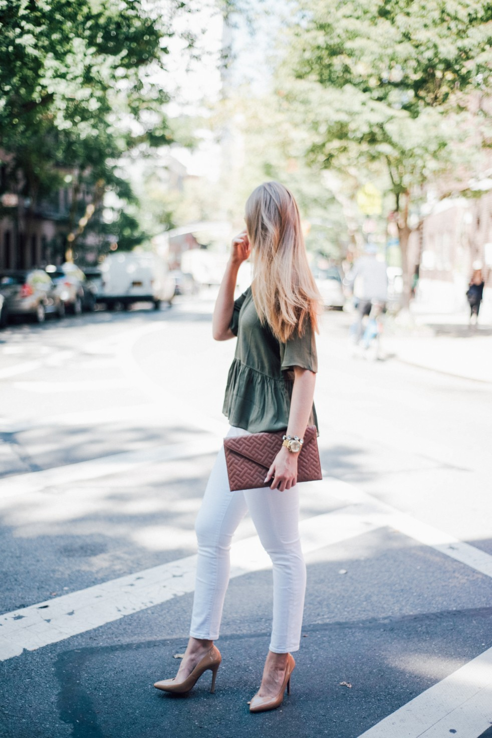 white jeans and peplum top west village fashion new york fashion blogger lauren slade style elixir blog spring outfit ideas 8 - Style Sessions - White Jeans and Peplum Top in the West Village featured by popular US style blogger, Style Elixir