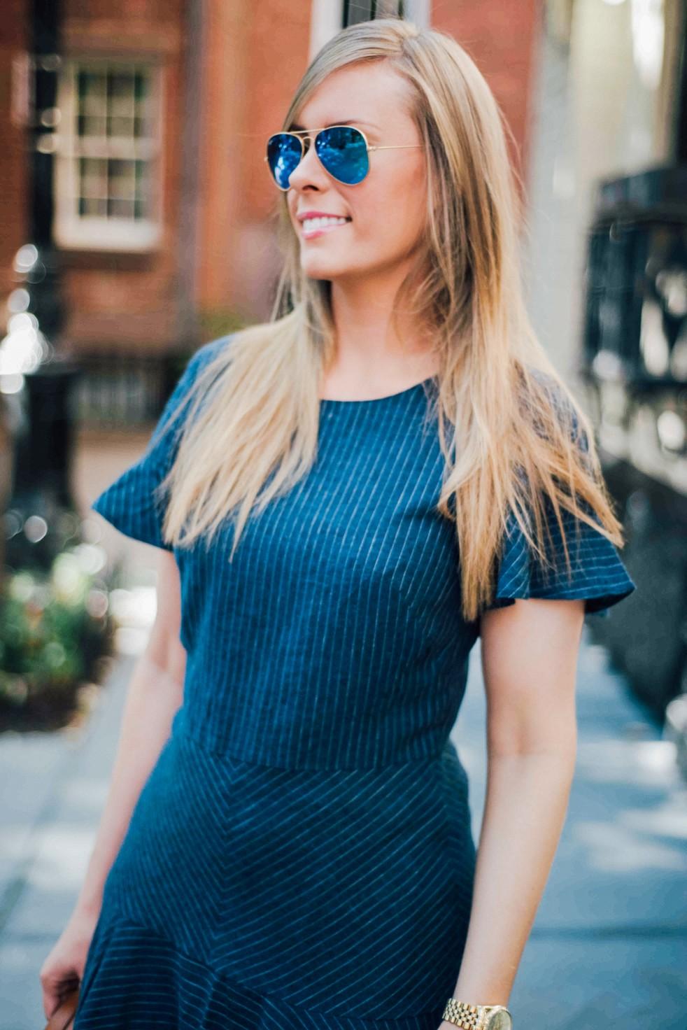 Banana Republic Denim Dress Dooney & Burke handbag | Summer Denim Dress Style featured by popular US fashion blogger Style Elixir