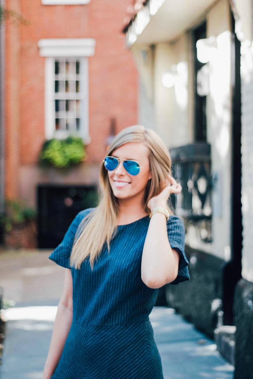 Banana Republic Denim Dress Dooney & Burke handbag| Summer Denim Dress Style featured by popular US fashion blogger Style Elixir