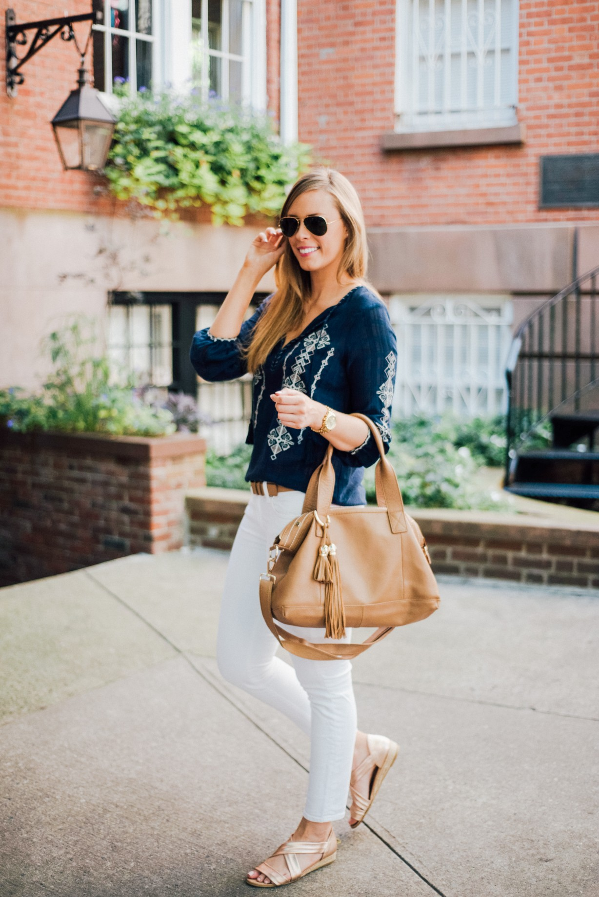 J Crew White Jeans Outfit Idea Boho Top Ray Ban Aviators Fashion Blogger West Village New York Lauren Slade Style Elixir 1