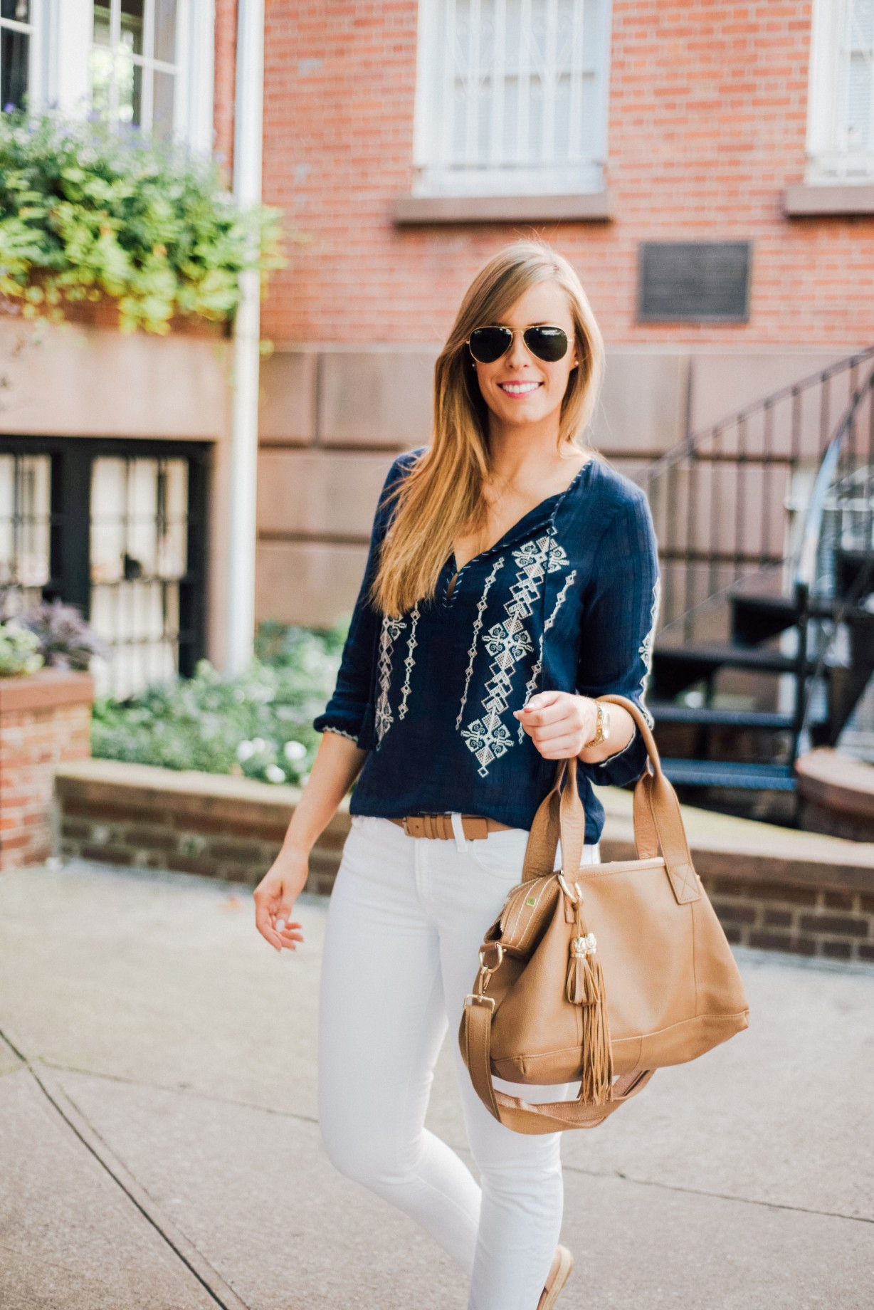 J Crew White Jeans Outfit Idea Boho Top Ray Ban Aviators Fashion Blogger West Village New York Lauren Slade Style Elixir 2