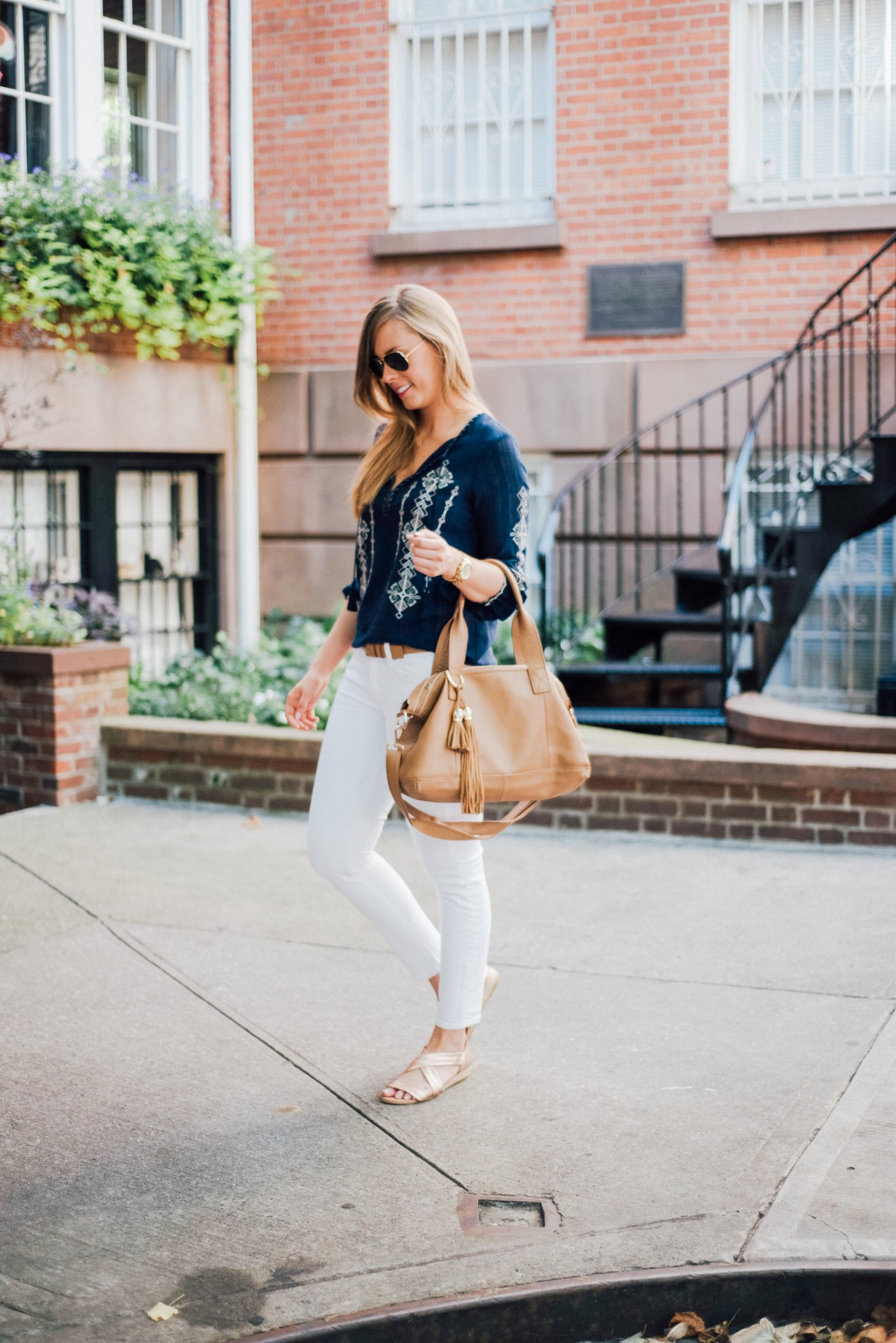 J Crew White Jeans Outfit Idea Boho Top Ray Ban Aviators Fashion Blogger West Village New York Lauren Slade Style Elixir 4
