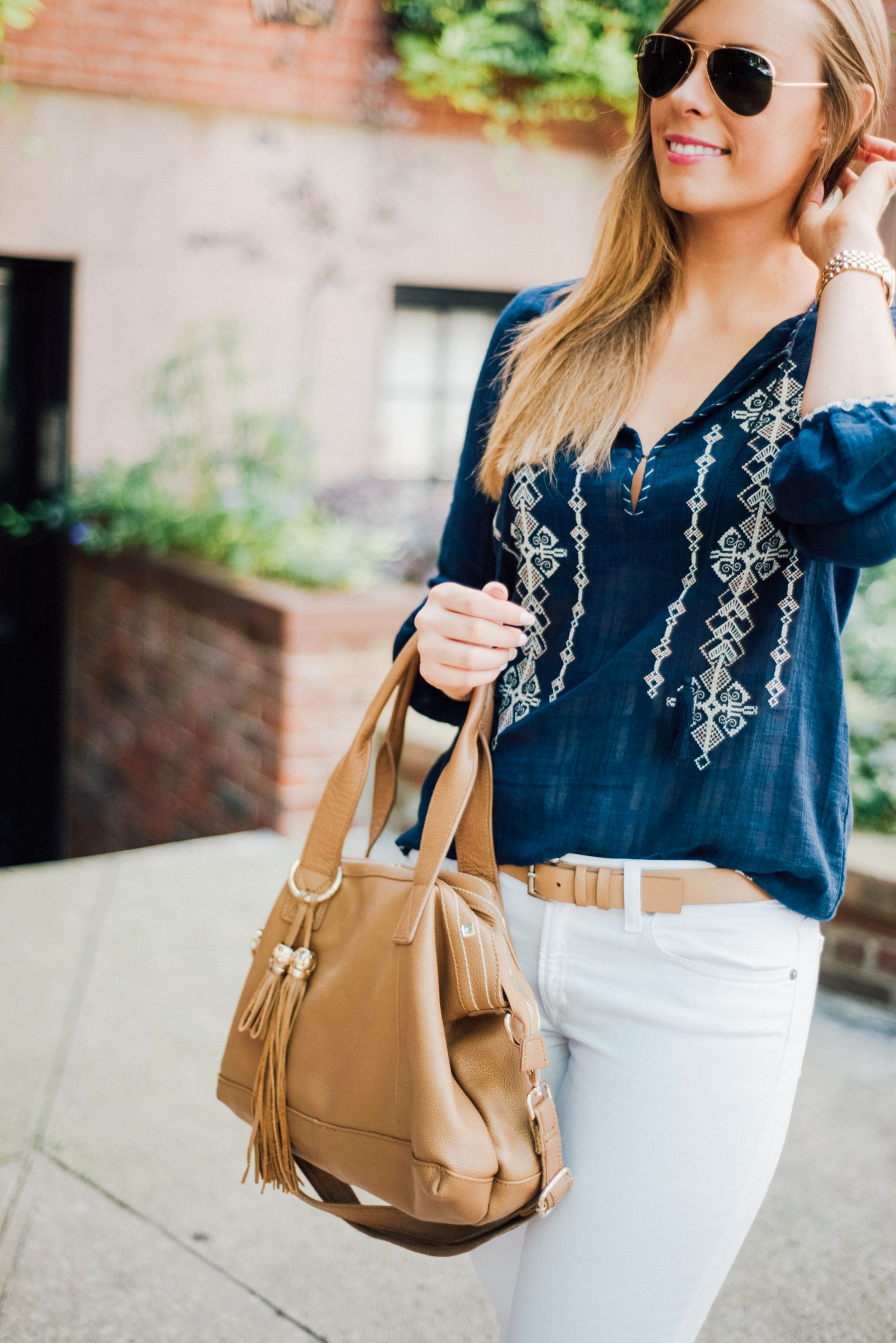 J Crew White Jeans Outfit Idea Boho Top Ray Ban Aviators Fashion Blogger West Village New York Lauren Slade Style Elixir 9