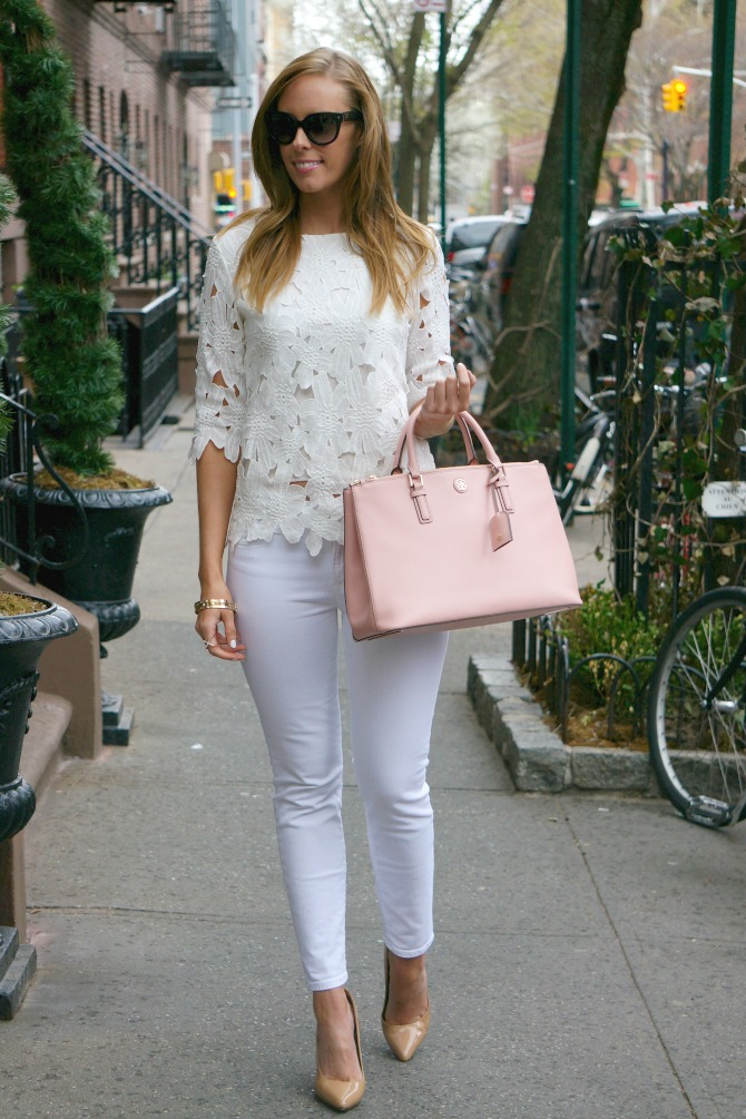 outfit ideas summer best white jeans j crew | Styling White on White featured by popular US fashion blogger Style Elixir