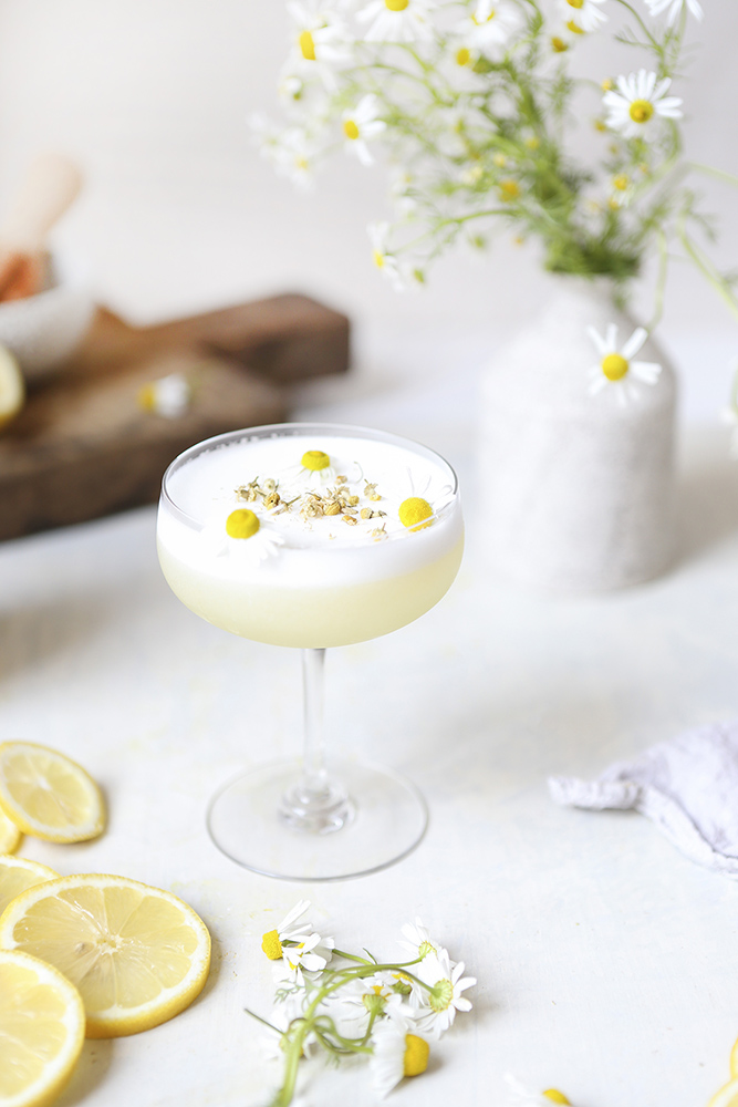 best summer cocktail recipes Chamomile Gin Sour flower pretty drink recipe