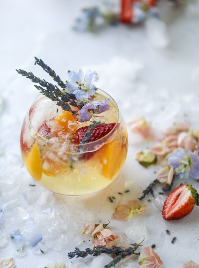 lavender-sangria best summer cocktail recipes flower pretty drink