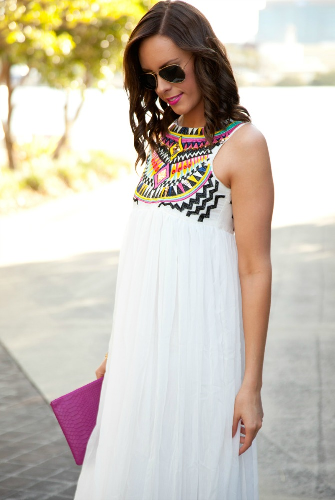 | White Maxi Dress featured by popular US fashion blogger Style Elixir