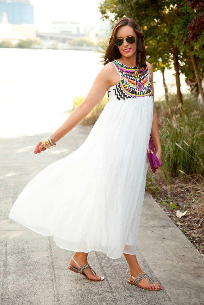 Style Sessions - White Maxi Dress featured by popular international fashion blogger Style Elixir