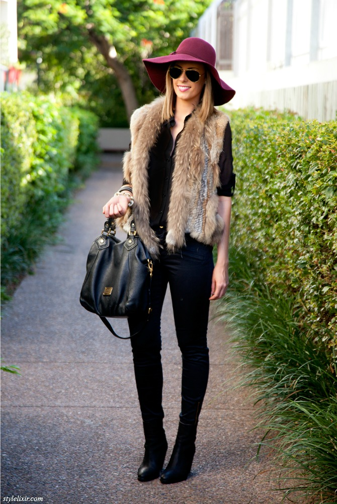 Fur Vest Outfit Idea fashion blogger pinterest style fall winter outfit 1