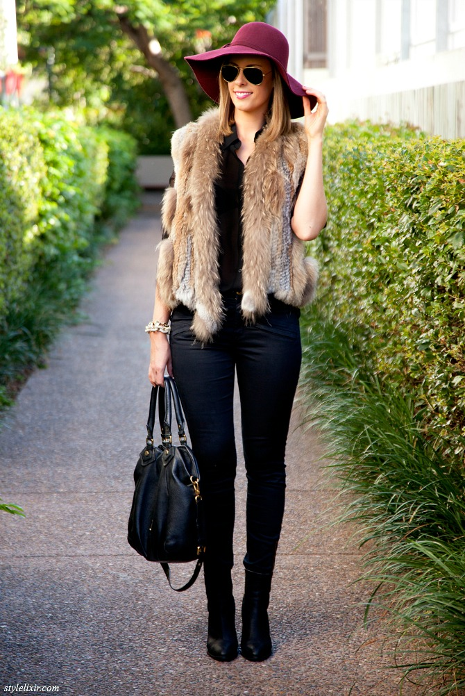 Fur Vest Outfit Idea fashion blogger pinterest style fall winter outfit 7