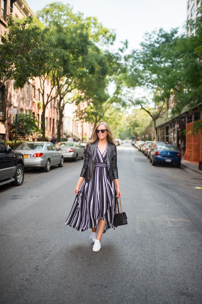 How to Wear a Black and White Striped Dress Outfit for Fall fashion blogger leather jacket white sneakers black and white outfit ideas fashion blogger street style new york 1| INC black and white striped dress styled by top US fashion blog, Style Elixir
