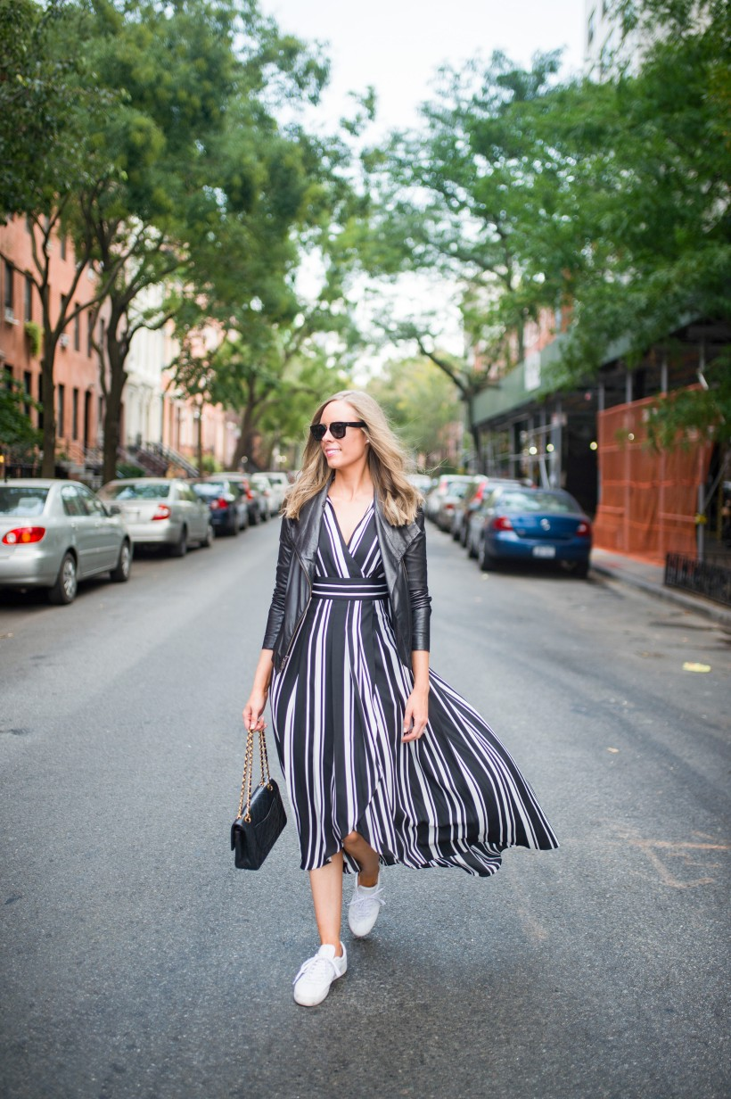 How to Wear a Black and White Striped Dress Outfit for Fall fashion blogger leather jacket white sneakers black and white outfit ideas fashion blogger street style new york 10| INC black and white striped dress styled by top US fashion blog, Style Elixir