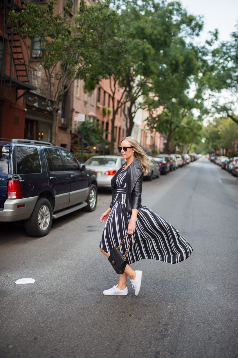 How to Wear a Black and White Striped Dress Outfit for Fall fashion blogger leather jacket white sneakers black and white outfit ideas fashion blogger street style new york 11| INC black and white striped dress styled by top US fashion blog, Style Elixir