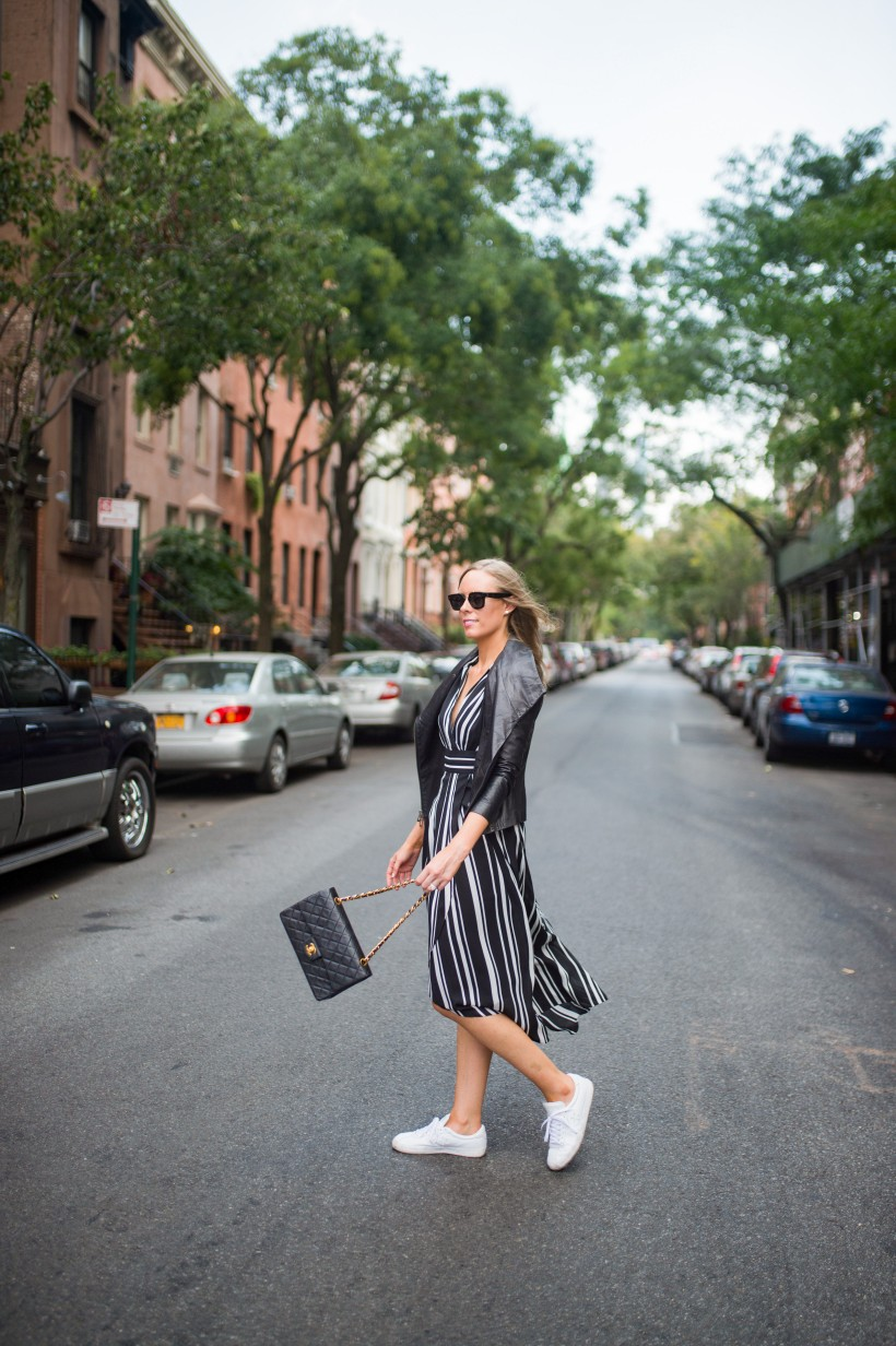 How to Wear a Black and White Striped Dress Outfit for Fall fashion blogger leather jacket white sneakers black and white outfit ideas fashion blogger street style new york 12| INC black and white striped dress styled by top US fashion blog, Style Elixir