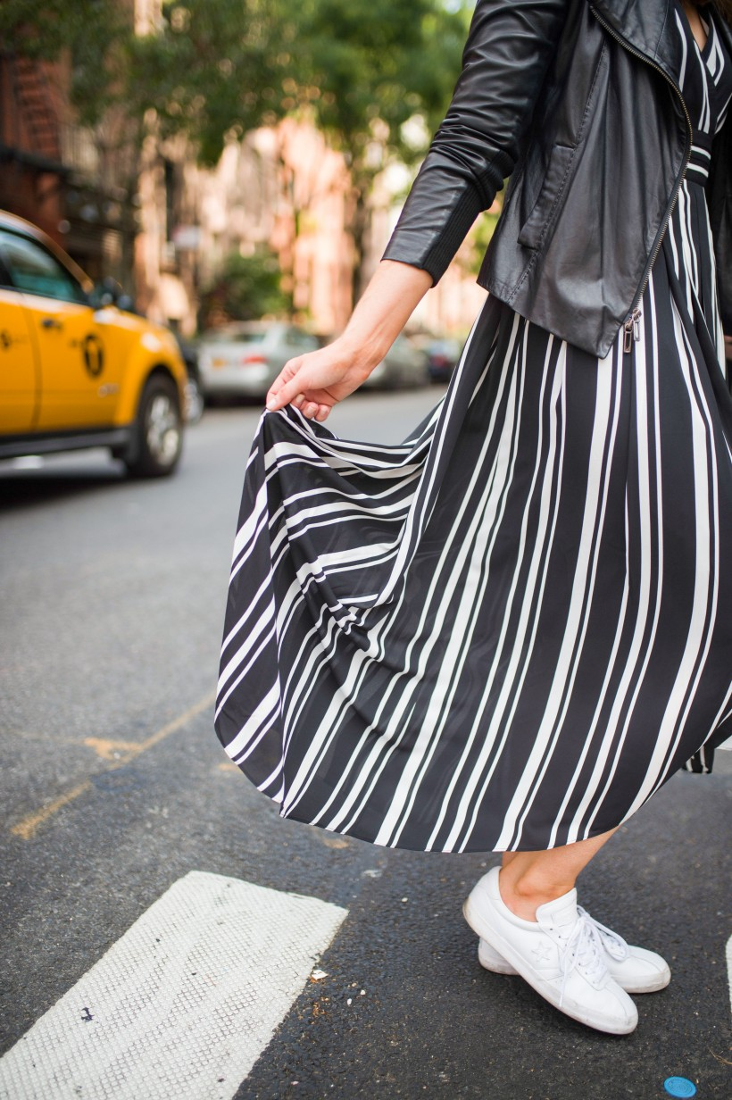 How to Wear a Black and White Striped Dress Outfit for Fall fashion blogger leather jacket white sneakers black and white outfit ideas fashion blogger street style new york 14| INC black and white striped dress styled by top US fashion blog, Style Elixir
