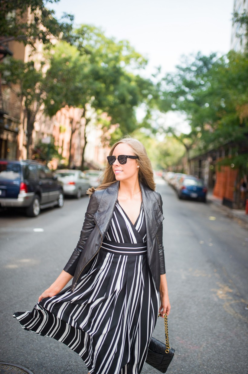 How to Wear a Black and White Striped Dress Outfit for Fall fashion blogger leather jacket white sneakers black and white outfit ideas fashion blogger street style new york 16| INC black and white striped dress styled by top US fashion blog, Style Elixir