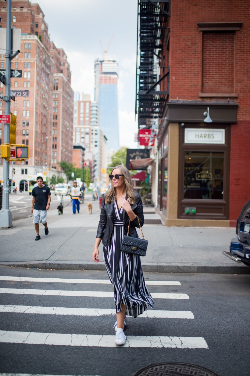 How to Wear a Black and White Striped Dress Outfit for Fall fashion blogger leather jacket white sneakers black and white outfit ideas fashion blogger street style new york 17| INC black and white striped dress styled by top US fashion blog, Style Elixir