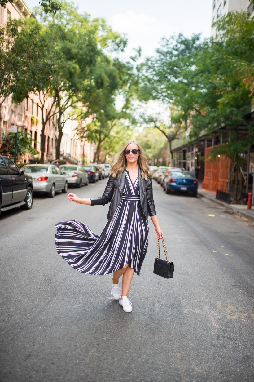 How to Wear a Black and White Striped Dress Outfit for Fall fashion blogger leather jacket white sneakers black and white outfit ideas fashion blogger street style new york 2| INC black and white striped dress styled by top US fashion blog, Style Elixir