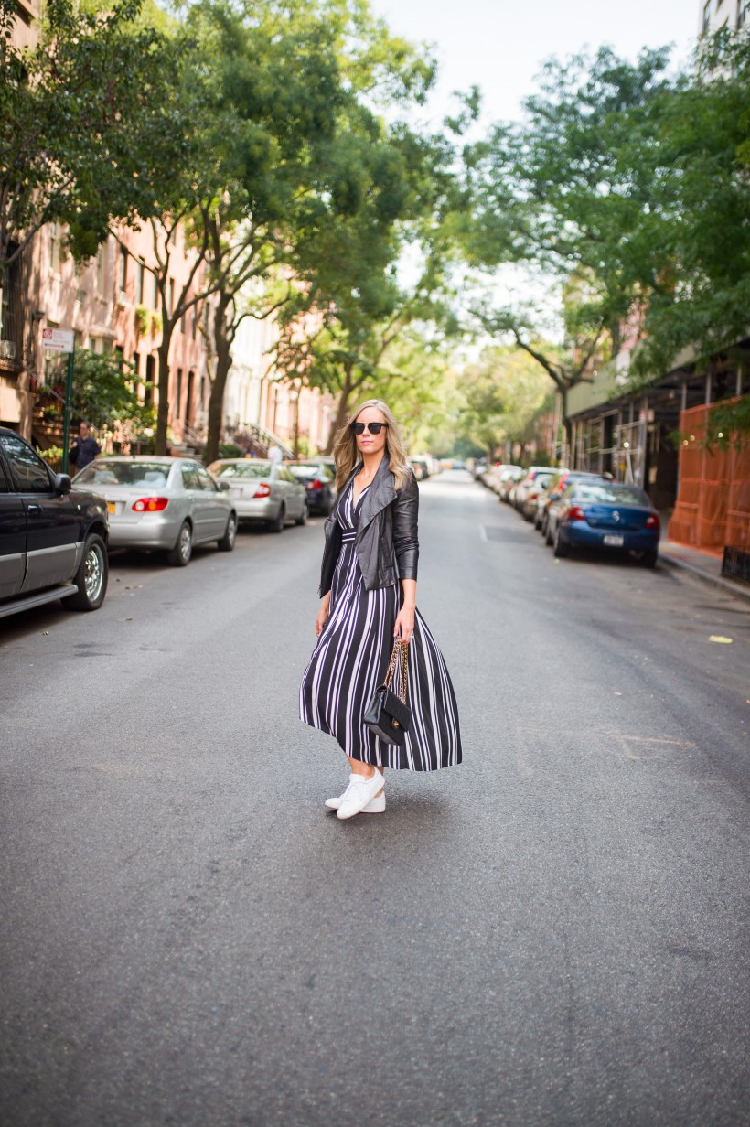 How to Wear a Black and White Striped Dress Outfit for Fall fashion blogger leather jacket white sneakers black and white outfit ideas fashion blogger street style new york 20| INC black and white striped dress styled by top US fashion blog, Style Elixir