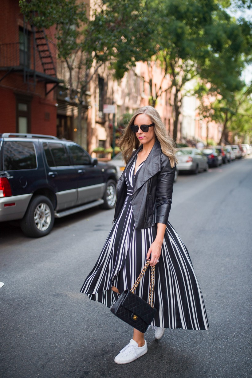 How to Wear a Black and White Striped Dress Outfit for Fall fashion blogger leather jacket white sneakers black and white outfit ideas fashion blogger street style new york 3| INC black and white striped dress styled by top US fashion blog, Style Elixir