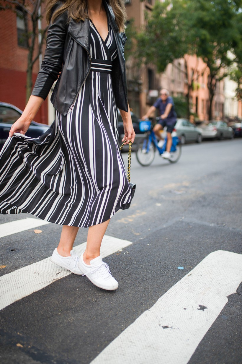 How to Wear a Black and White Striped Dress Outfit for Fall fashion blogger leather jacket white sneakers black and white outfit ideas fashion blogger street style new york 6| INC black and white striped dress styled by top US fashion blog, Style Elixir
