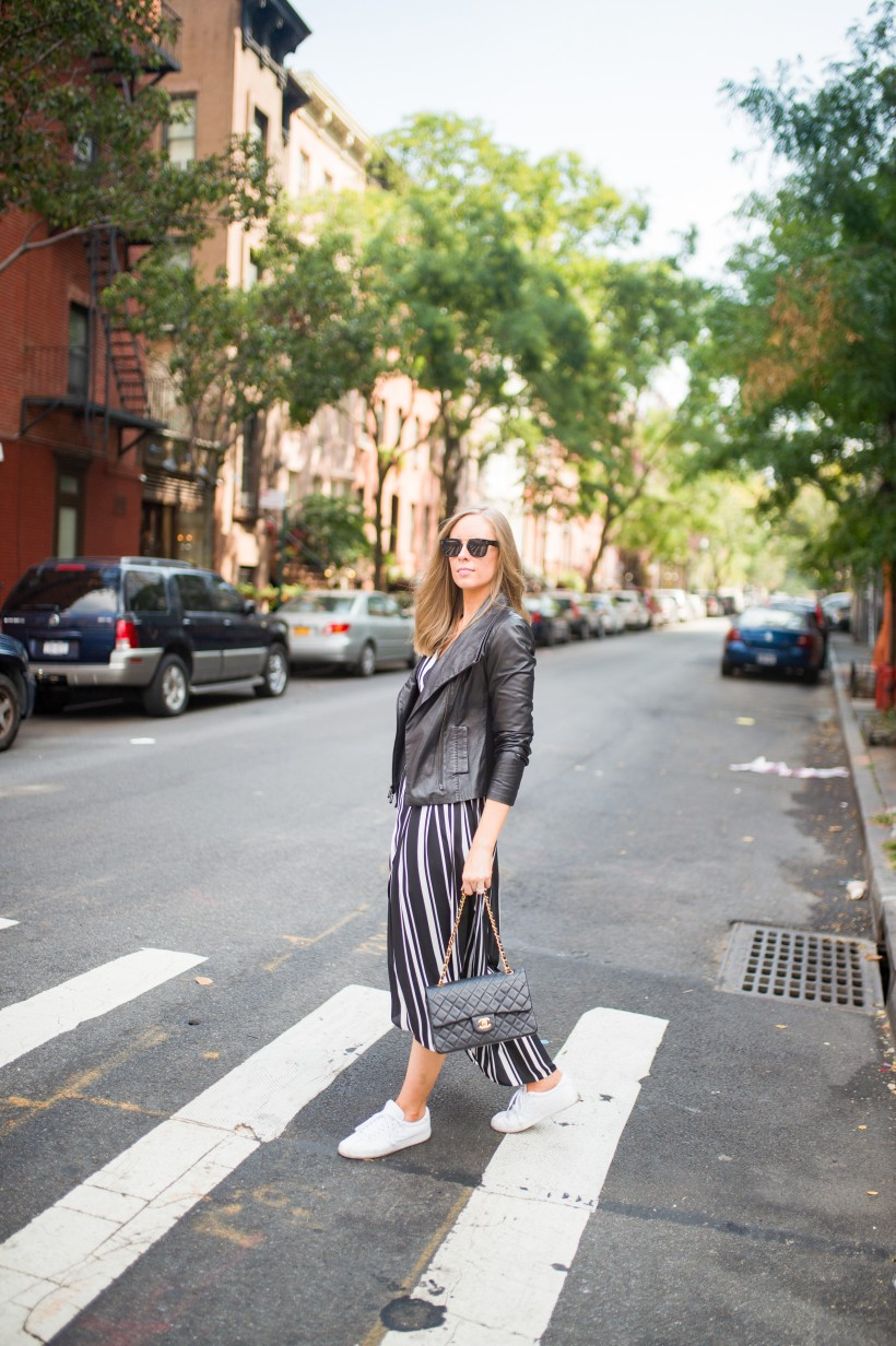 How to Wear a Black and White Striped Dress Outfit for Fall fashion blogger leather jacket white sneakers black and white outfit ideas fashion blogger street style new york 7| INC black and white striped dress styled by top US fashion blog, Style Elixir