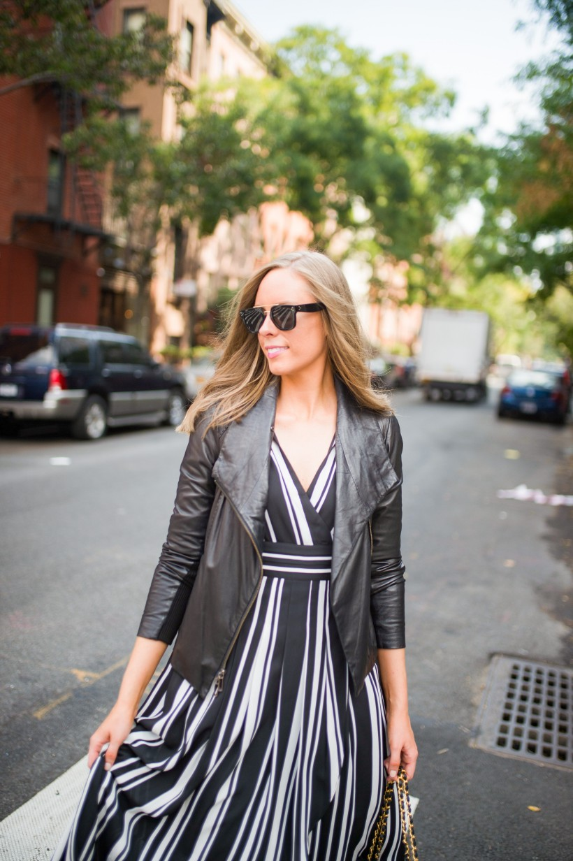 How to Wear a Black and White Striped Dress Outfit for Fall fashion blogger leather jacket white sneakers black and white outfit ideas fashion blogger street style new york 8| INC black and white striped dress styled by top US fashion blog, Style Elixir