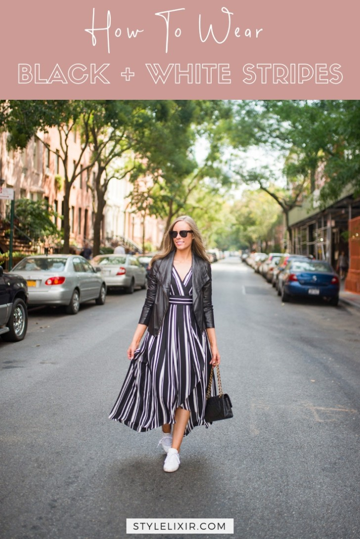 How to Wear a Black and White Striped Dress Outfit for Fall pinterest outfit ideas pin | INC black and white striped dress styled by top US fashion blog, Style Elixir
