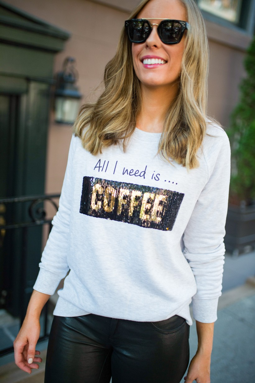 kut from the kloth coffee wine sequin sweater j brand leather pants chanel bag celine sunglasses fall outfit ideas top us fashion blog style elixir lauren slade 16